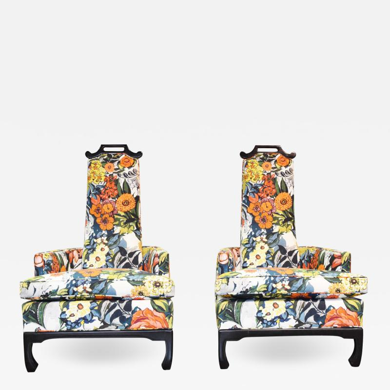 Henredon Furniture Pair of James Mont Style Chairs by Henredon