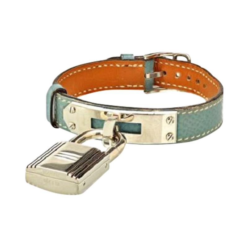 Herm s HERMES KELLY STAINLESS STEEL BLUE DIAL BABY BLUE STRAP WATCH