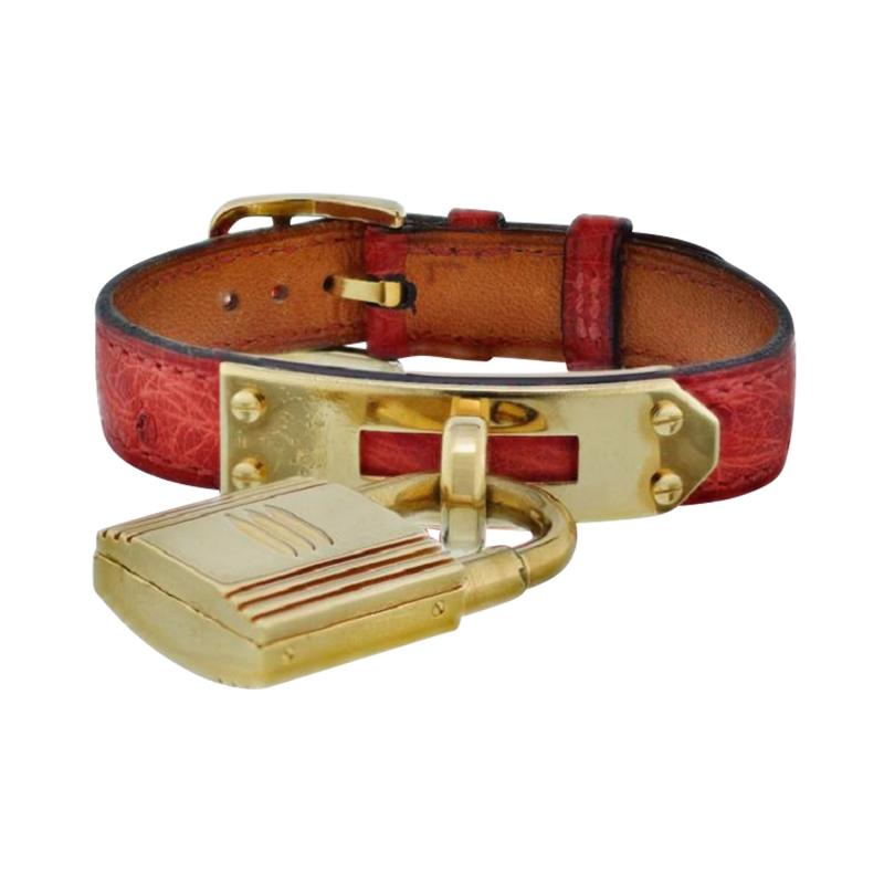 Herm s HERMES KELLY STAINLESS STEEL RED LIZARD STRAP WITH GOLD TONE DIAL WATCH