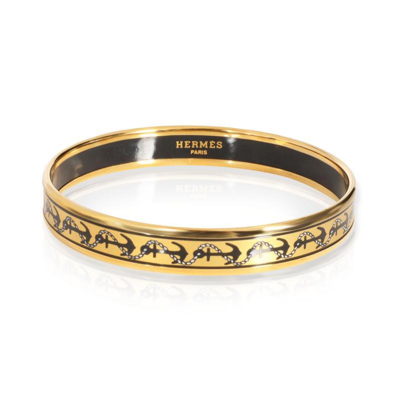 Herm s Herm s Gold Plated Narrow Enamel Bangle