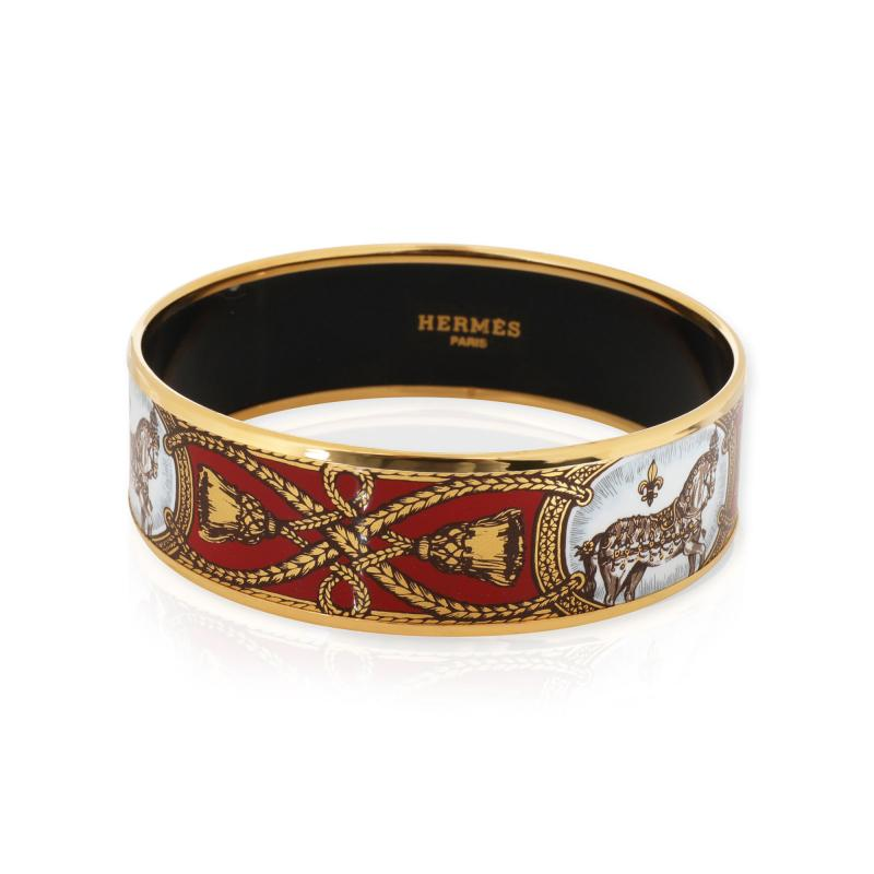 Herm s Herm s Grand Apparat Gold Plated Wide Enamel Bangle