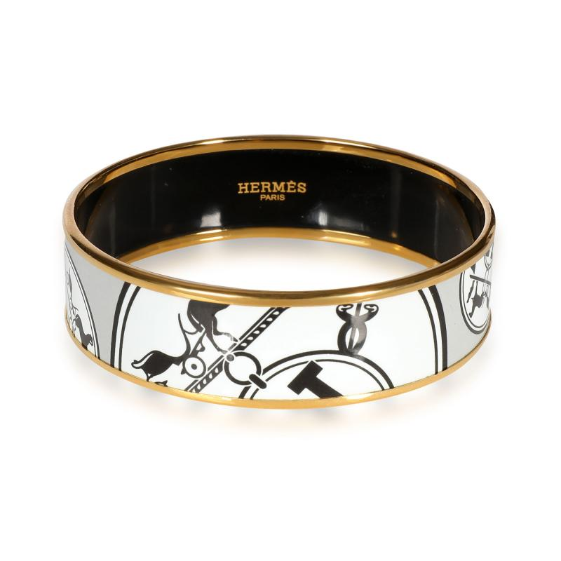 Herm s Hermes Wide Enamel Gold Plated Bangle