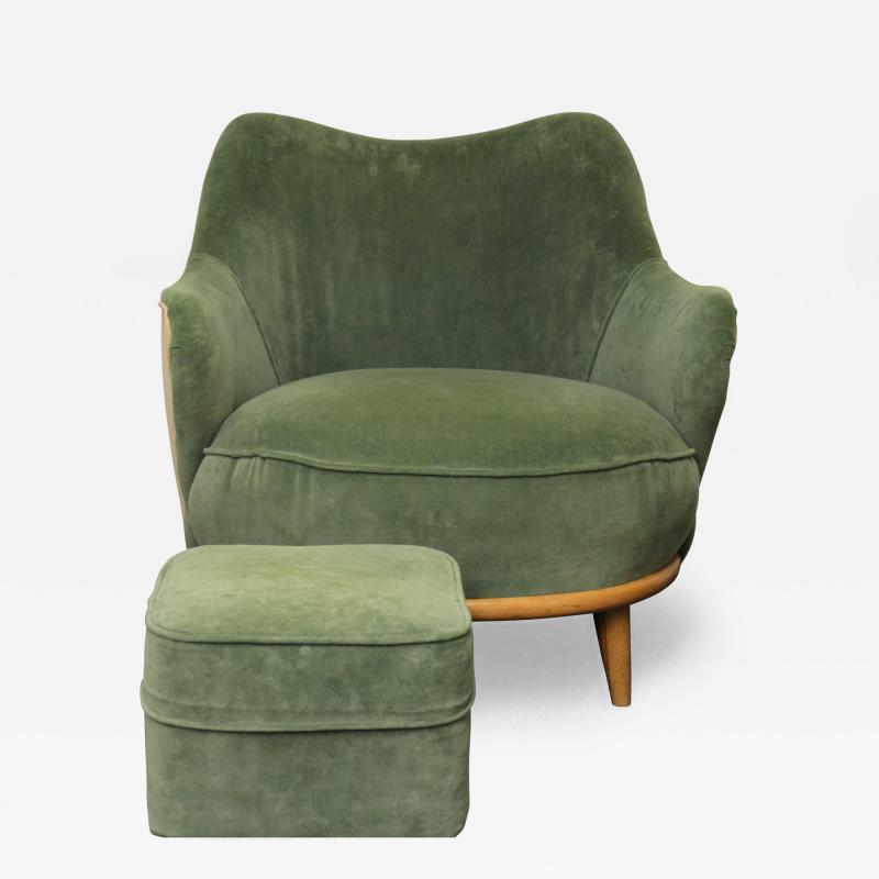 Heywood Wakefield Tub Chair With Ottoman