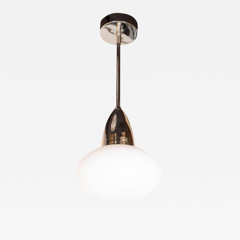 High Style Deco Modernist Chrome Pendant With Opaque White Glass Shade by High Style Deco