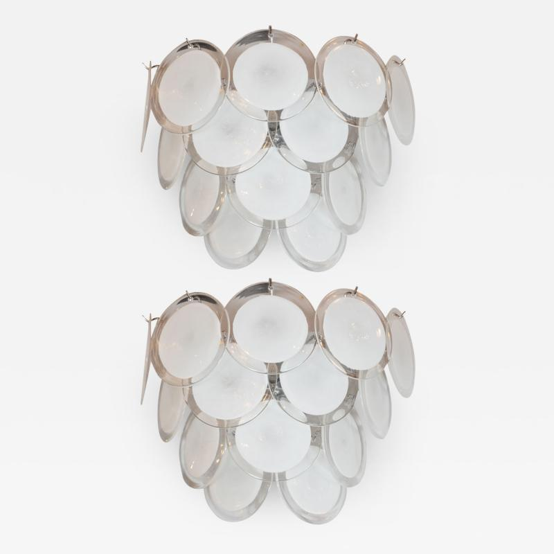 High Style Deco Pair of Modernist 14 Disc Sconces in Hand Blown Murano White Translucent Glass