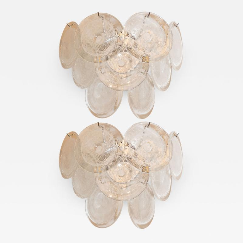 High Style Deco Pair of Modernist 9 Disc Handblown Murano Clear Translucent Glass Sconces