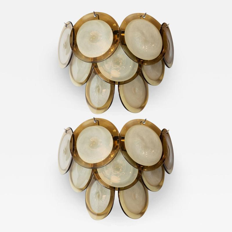 High Style Deco Pair of Modernist 9 Disc Handblown Murano Topaz Translucent Glass Sconces