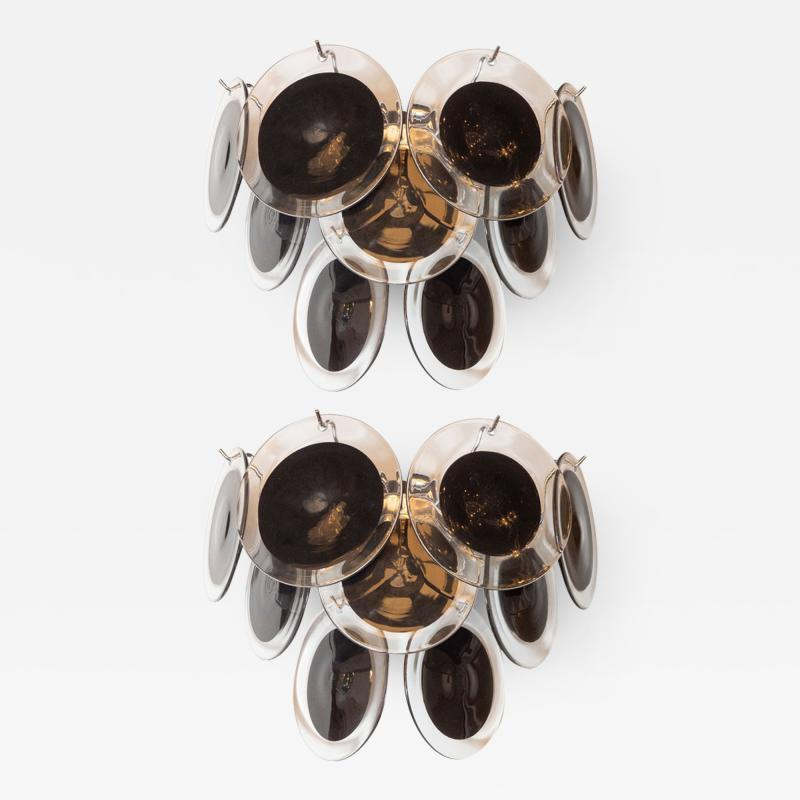 High Style Deco Pair of Modernist 9 Disc Sconces in Handblown Murano Black Translucent Glass