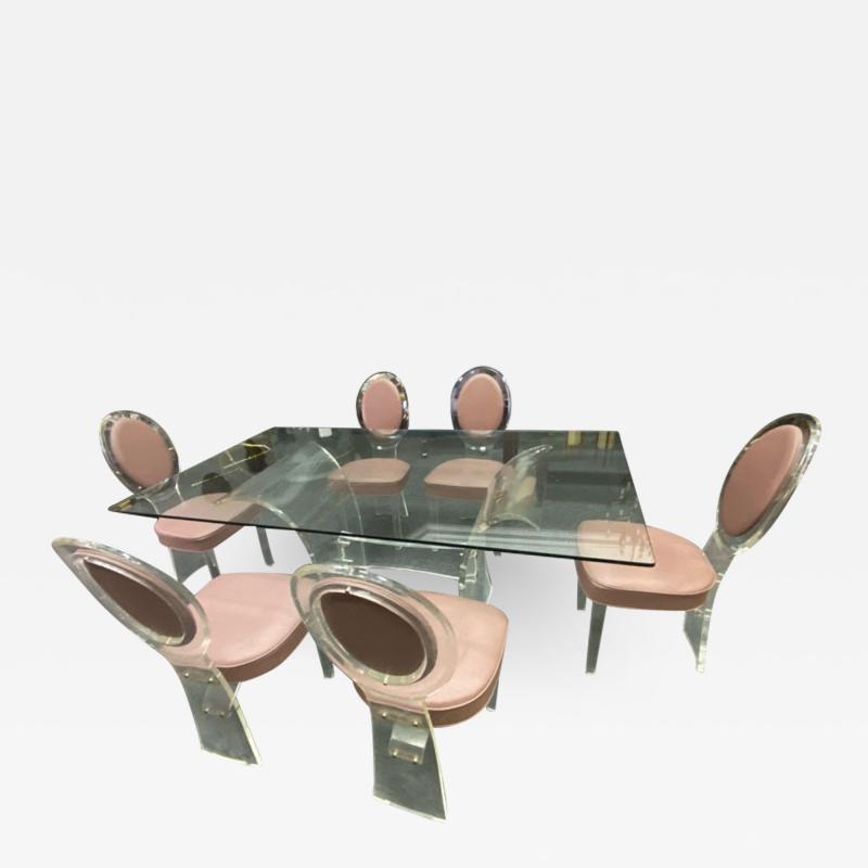 Hill Manufacturing MODERNIST LUCITE DINING TABLE AND SIX LUCITE DINING CHAIRS
