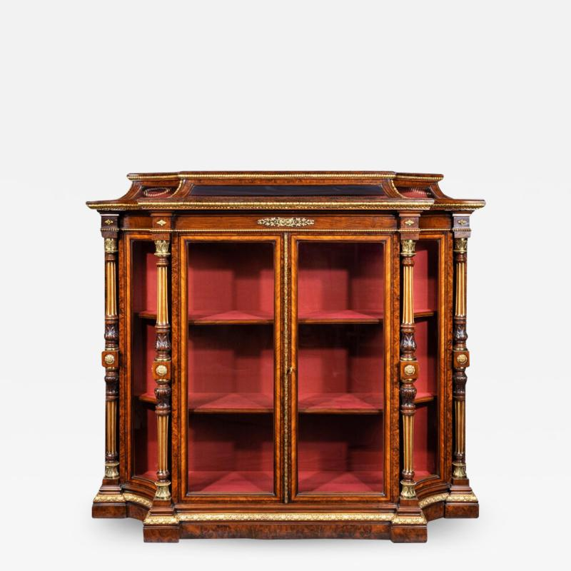 Holland Sons AN EXHIBITION QUALITY MID 19TH CENTURY BURR WALNUT CREDENZA DISPLAY CABINET