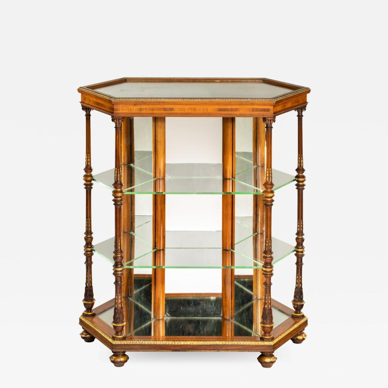 Holland Sons Hexagonal display table attributed to Holland and Sons
