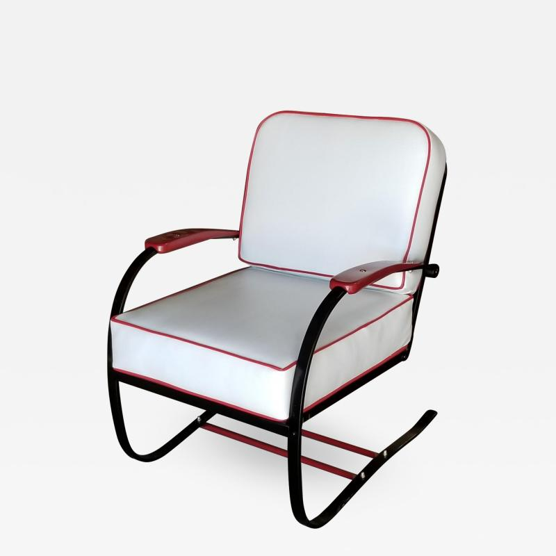 Howell Company Wolfgang Hoffmann Custom Red and Black Springer Recliner Chair for Howell
