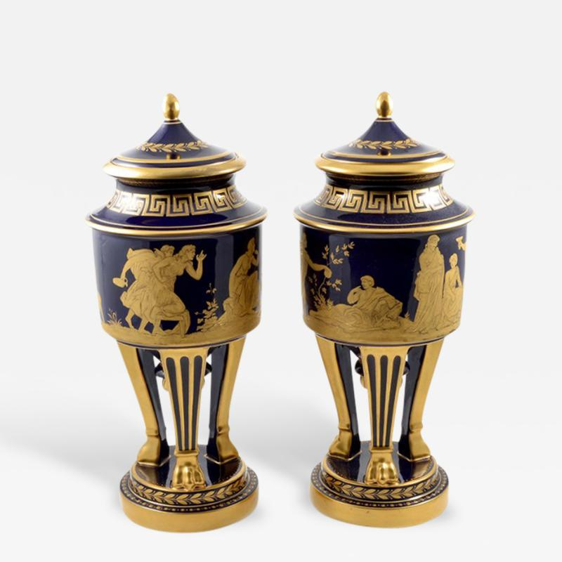 Hutschenreuther 1914s Pair of Porcelain Cobalt Blue 19 Vases with Mythological Scenes