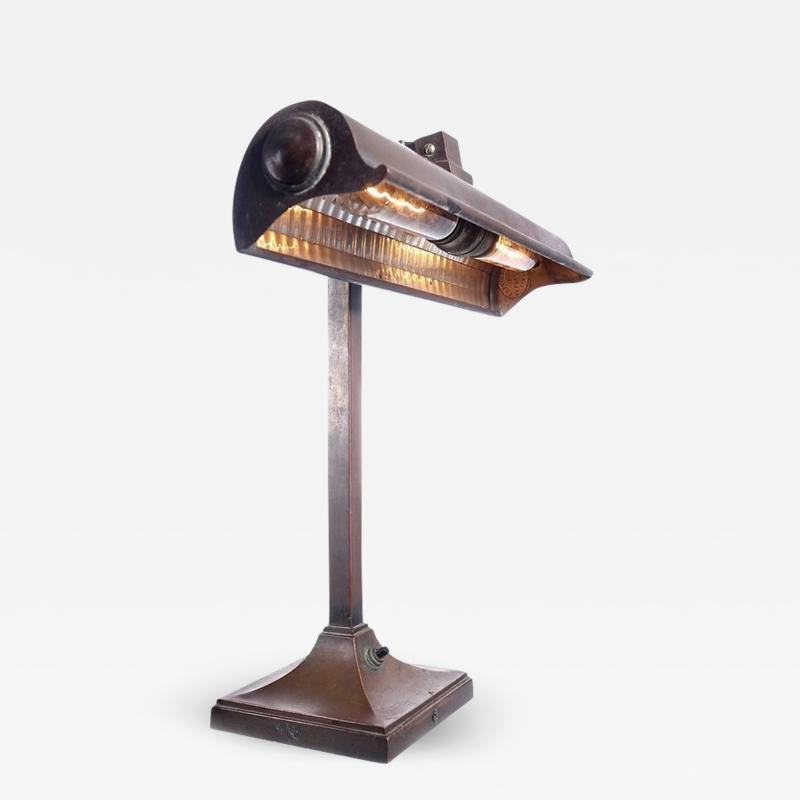I P Frink Original Mirrored Frink Bronze Bank Table Lamp