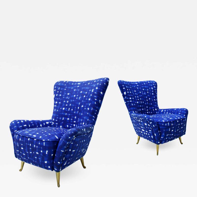 ISA Bergamo I S A Italy Italian Mid Century Modern Cotton Pattern Pair of ISA Slipper Chairs