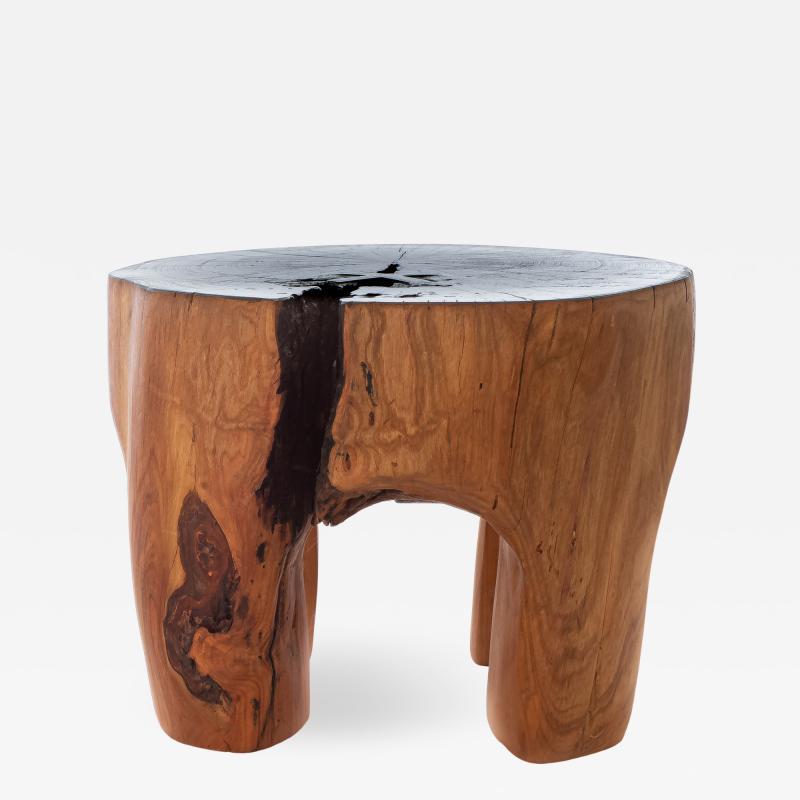 Ian Love Design Cherry Blossom Stool Side Table With Ebonized Top