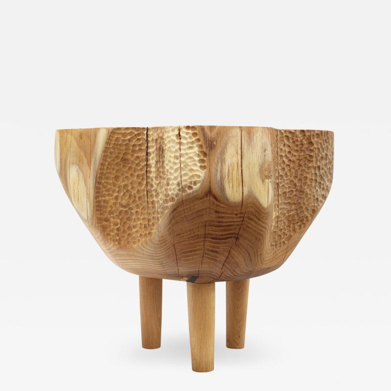Ian Love Design Hand Carved Elm Side Table