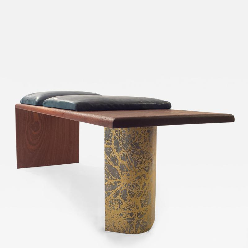 Ian Love Design Mahogany Bench With Leather Cushion And Chattered Design