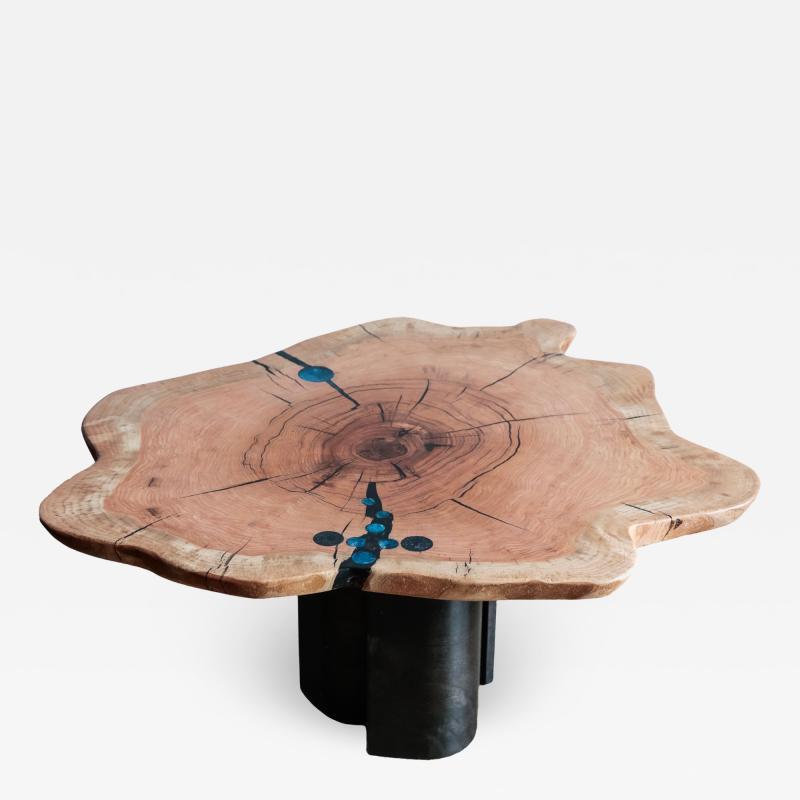Ian Love Design Oak Coffee Table With Bent Wood Base