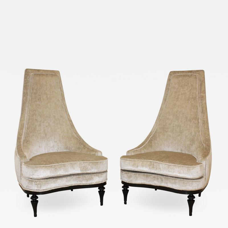 Interiors Crafts 1960s High Back Slipper Lounge Chairs By Interior Crafts