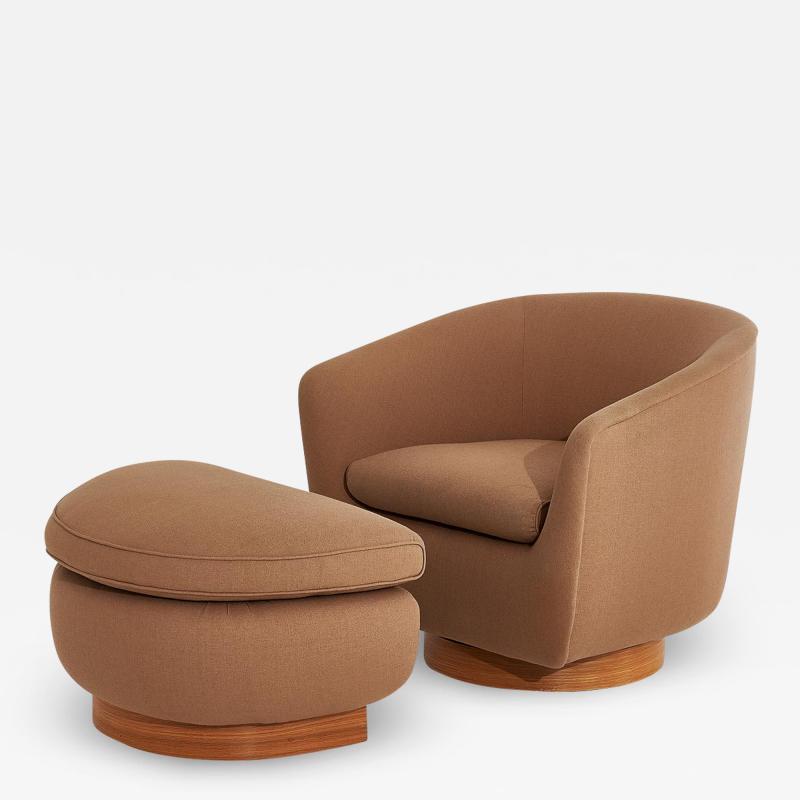 Interiors Crafts Interior Crafts Barrel Chair with Ottoman Walnut Base 1970