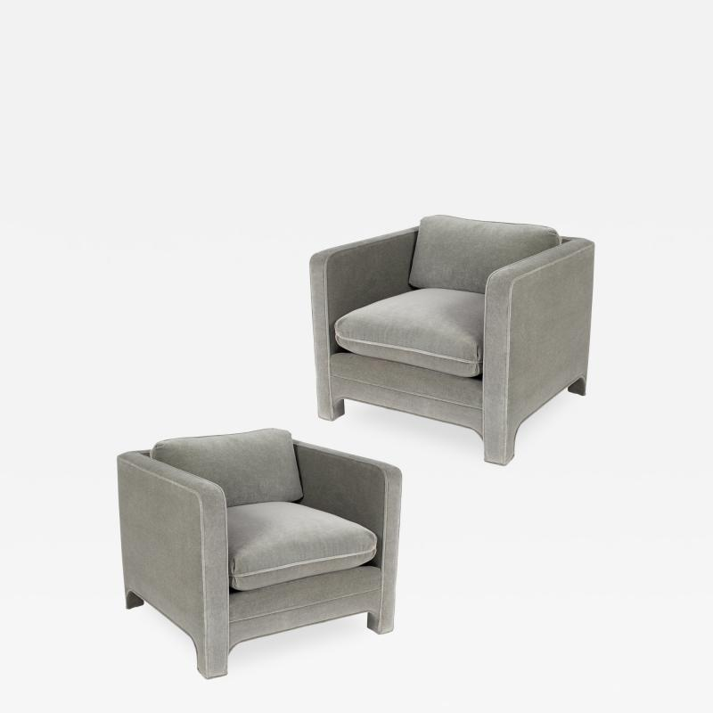 Interiors Crafts PAIR OF CLUB CHAIRS IN GRAY MOHAIR BY INTERIOR CRAFTS CIRCA 1980S