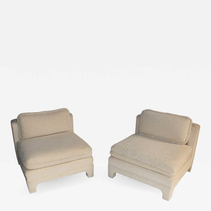 Interiors Crafts Pair of large scale slipper chairs by Interior Crafts circa 1980s