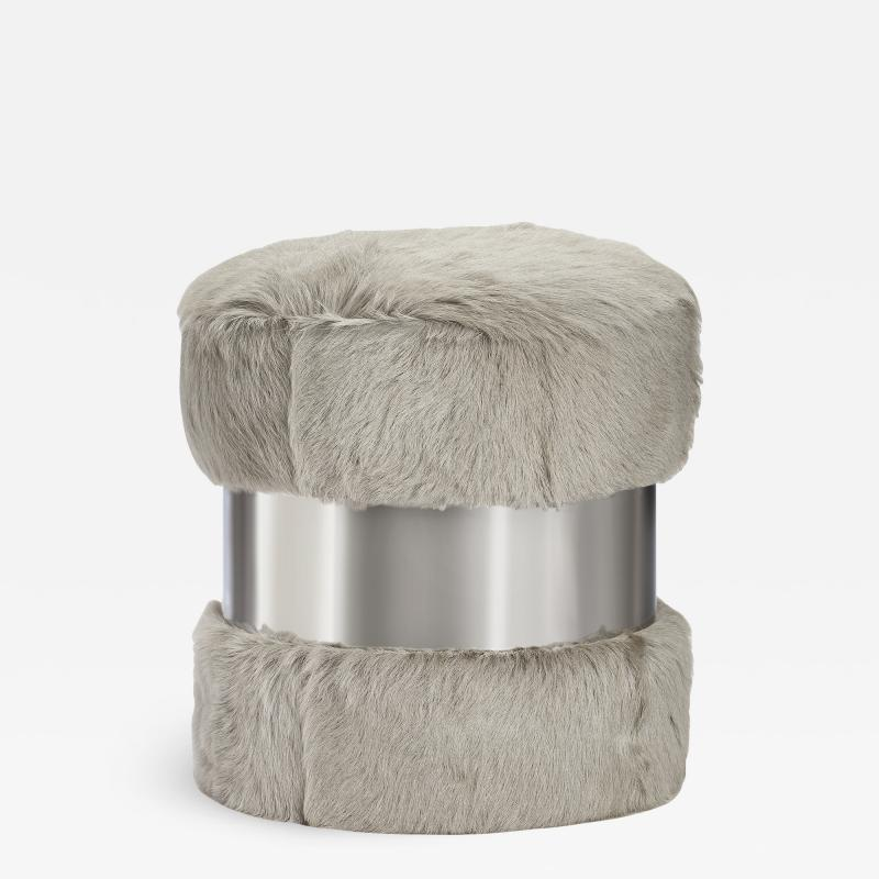 Interlude Home Scarlett Stool Grey Goat Nickel