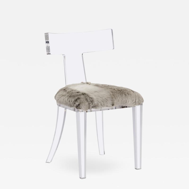 Interlude Home Tristan Acrylic Klismos Chair Grey Goat