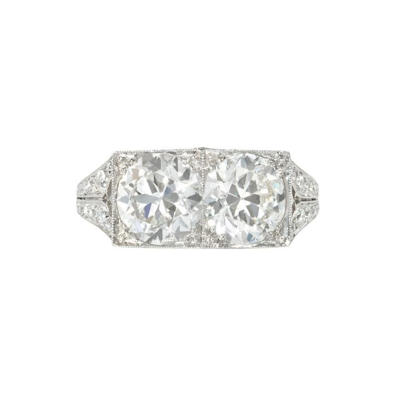 J E Caldwell Co Jewelry Caldwell Silver J E Caldwell Art Deco Two Stone Diamond and Platinum Ring