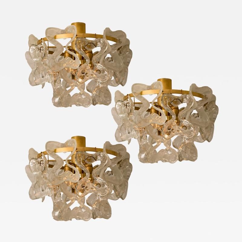 J T Kalmar Kalmar Lighting 1 of the 3 Massive J T Kalmar Catena Murano Glass Flush Mount Chandeliers
