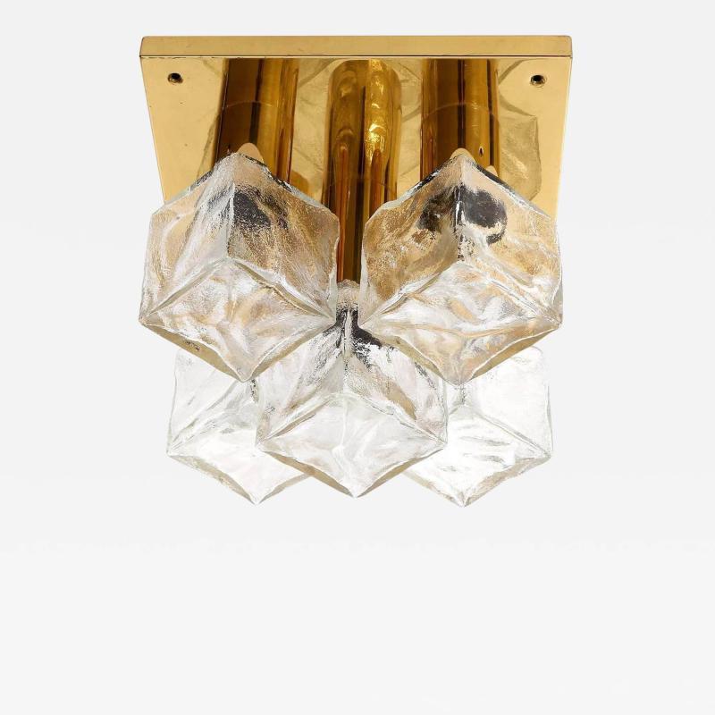 J T Kalmar Kalmar Lighting Kalmar 5 Glass Cube Flush Mount