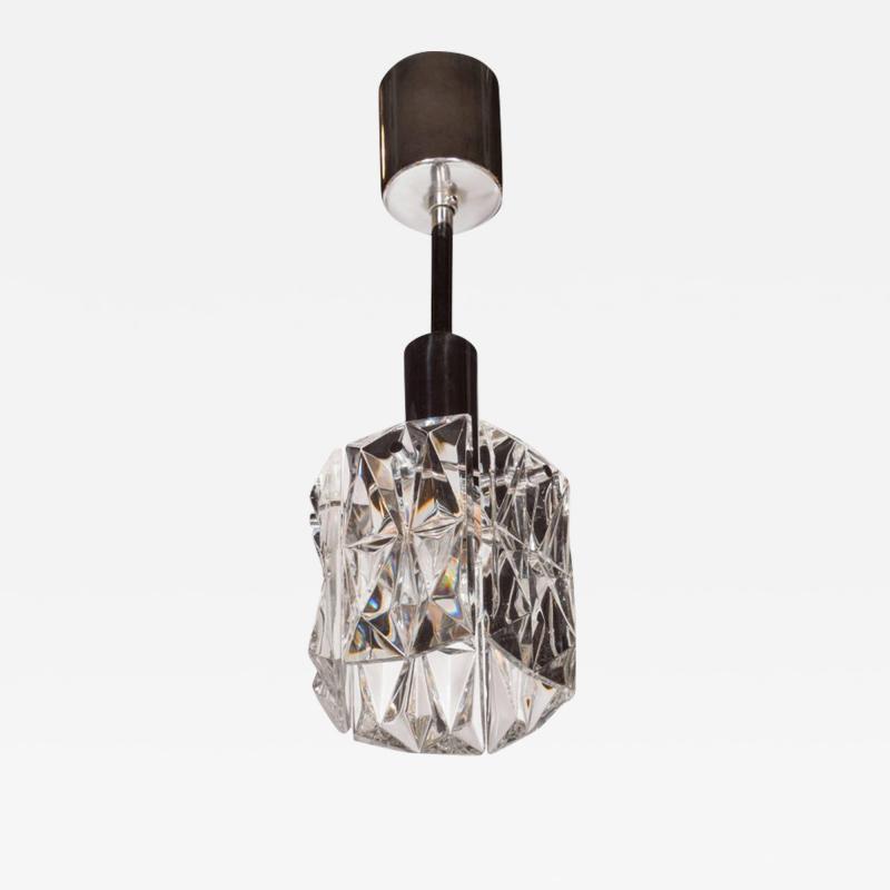J T Kalmar Kalmar Lighting Mid Century Modern Etched Glass Pendant by J T Kalmar