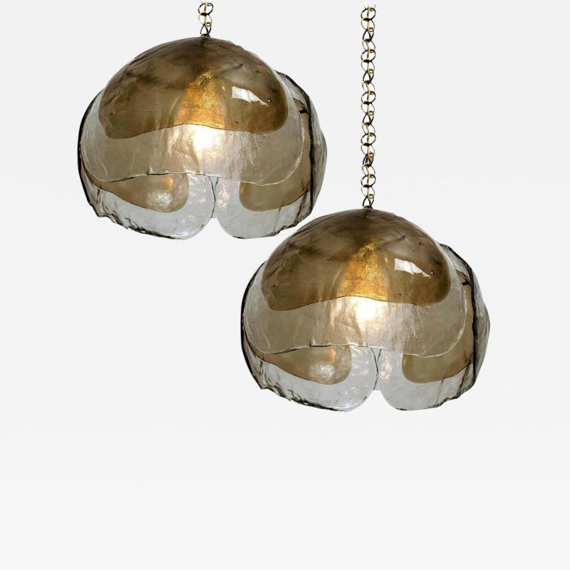J T Kalmar Kalmar Lighting Pair of Kalmar Chandelier Pendant Lights Smoked Glass and Brass 1970s