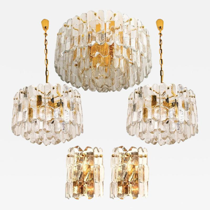 J T Kalmar Kalmar Lighting Set of Seven J T Kalmar Palazzo Light Fixtures Gilt Brass and Glass 1970