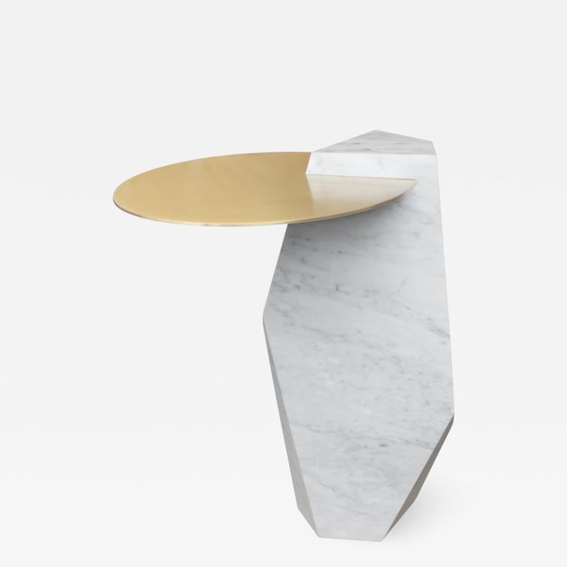 James Devlin Studio Lapidary Sculptural Drinks Table in Solid Carrara Marble