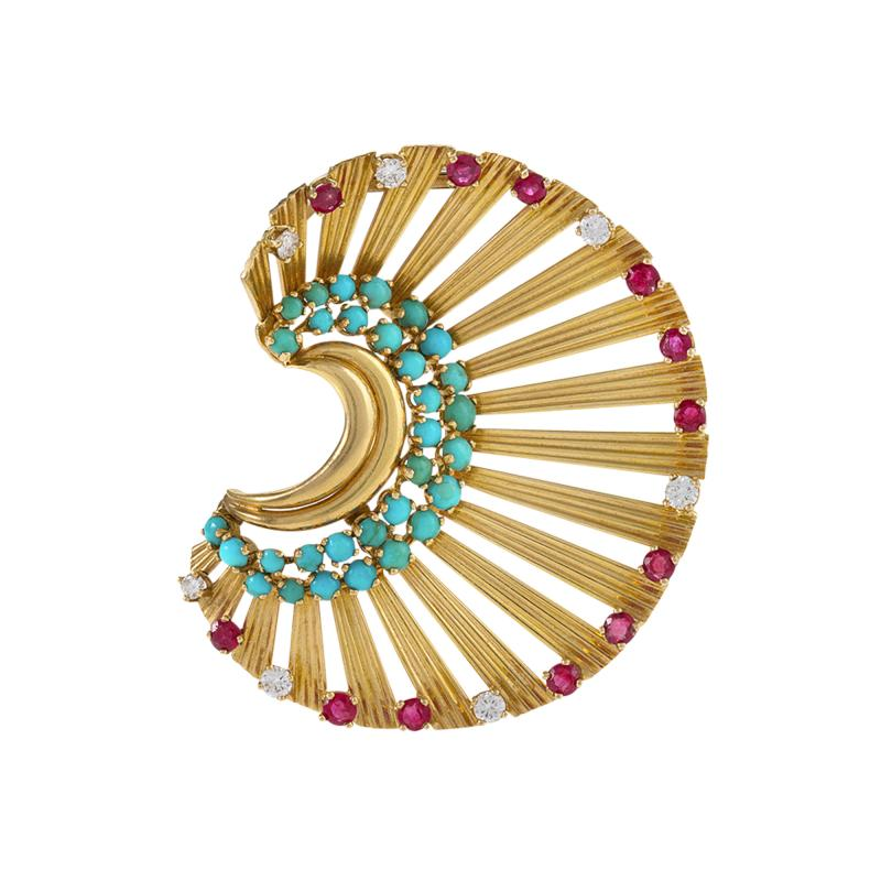 Janca French gold Brooch with turquoise diamond and ruby by Janca