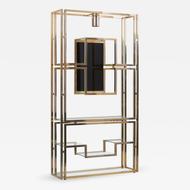 Jean Paul Barray Kim Moltzer Kim Moltzer Brass Silvered Metal and Glass Illuminated Open Display Case