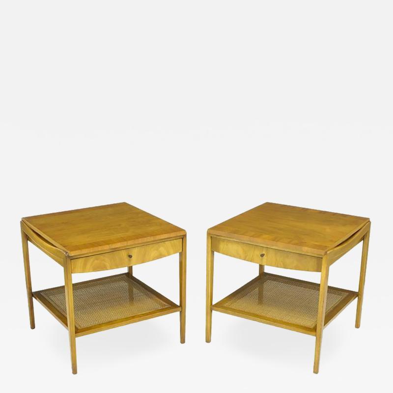 John Widdicomb Co Pair Widdicomb Bleached Walnut Cane Single Drawer End Tables