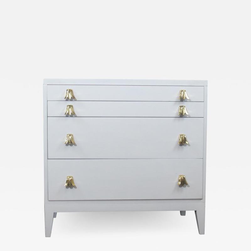 John Widdicomb Co Widdicomb Furniture Co Widdicomb White Lacquered Dresser Cabinet with Brass Pulls