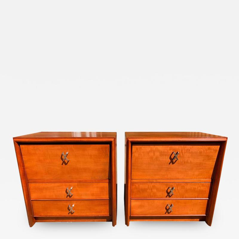 Johnson Furniture Pair of Paul Frankl for Johnson Furniture Cherry Nightstands with Nickel X Pulls