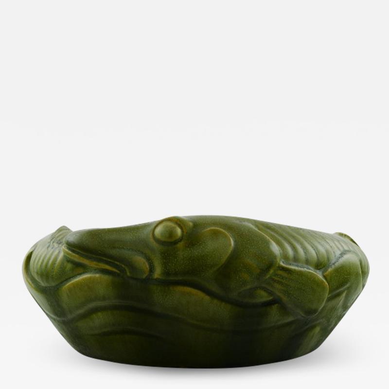 K hler Karl Hansen Reistrup for K hler bowl with pikes Beautiful green glaze