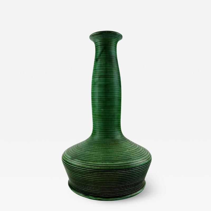 K hler Large glazed stoneware vase with narrow neck of modern design with stripes