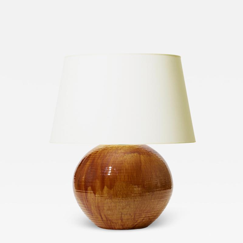 K hler Monumental Table Lamp in Flowing Golden Glaze by Kahler Keramik