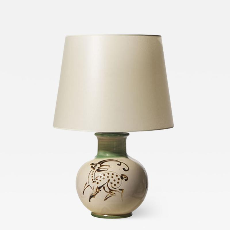 K hler Table lamp with quill painted deer figure by K hler