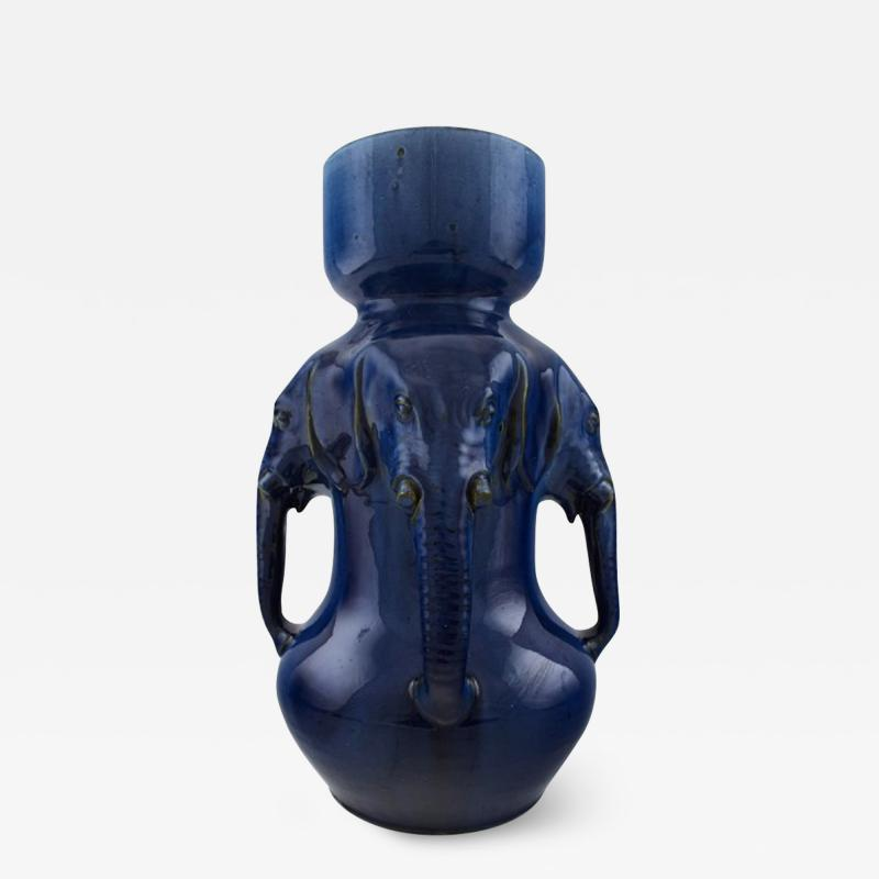 K hler Very large vase of pottery with dark blue glaze modeled with elephant heads