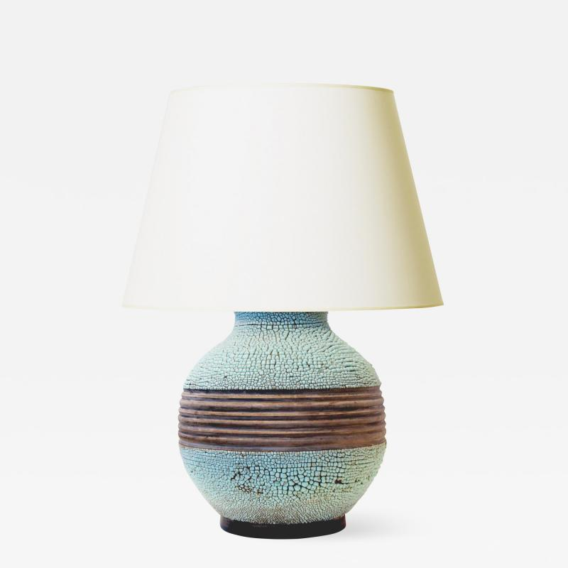 K ramos Exceptional Table Lamp with Textured Pale Turquoise by Keramos
