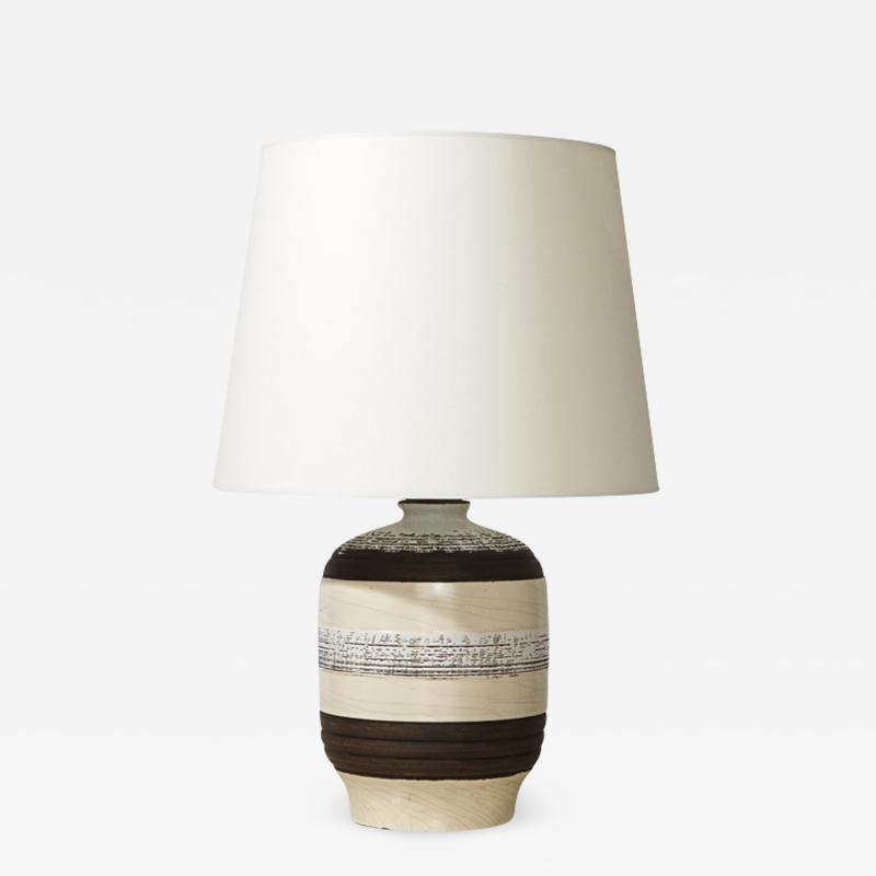 K ramos French Modernist Table Lamp with Textural Stripes by Keramos