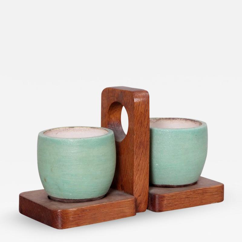 K ramos Keramos Ceramic Mugs and Oak Tray France 1950s