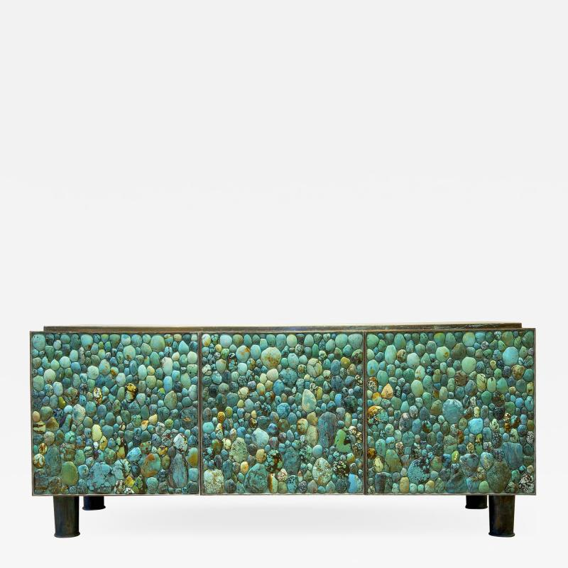 KAM TIN Sideboard in turquoise cabochon by KAM TIN